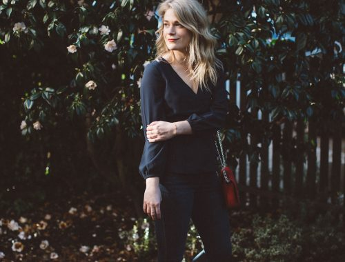 A Classic Look for the Office // J. Crew Wrap Top with Dark Madewell Denim and Scalloped Ballet Flats